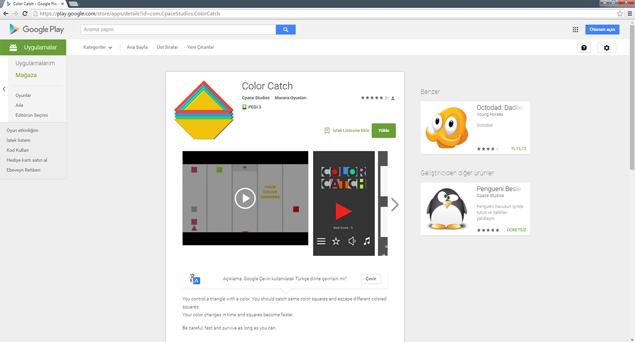 Color Catch mobil oyun uygulaması