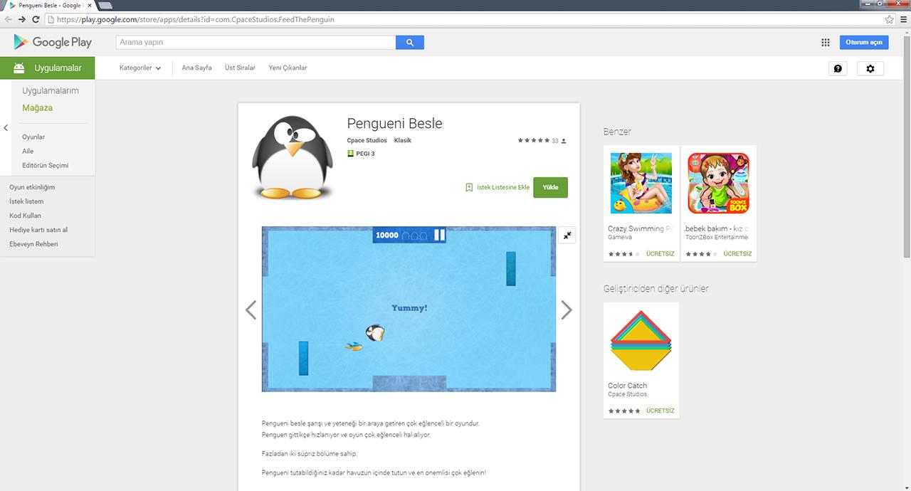 Pengueni besle mobil oyun uygulaması